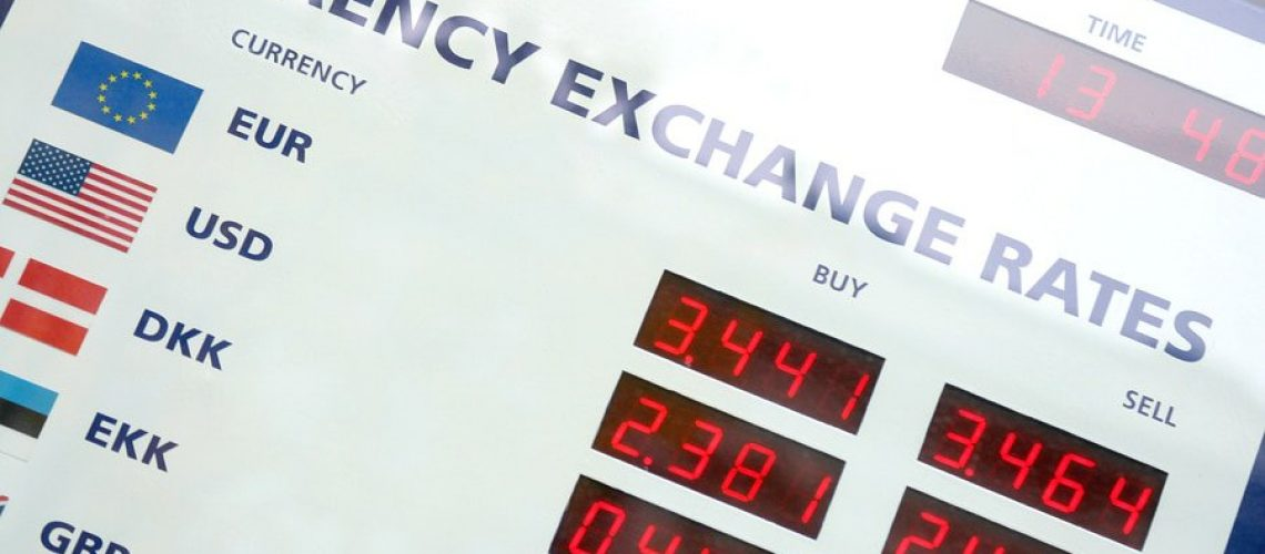 A fragment of the currency exchange rates board window display